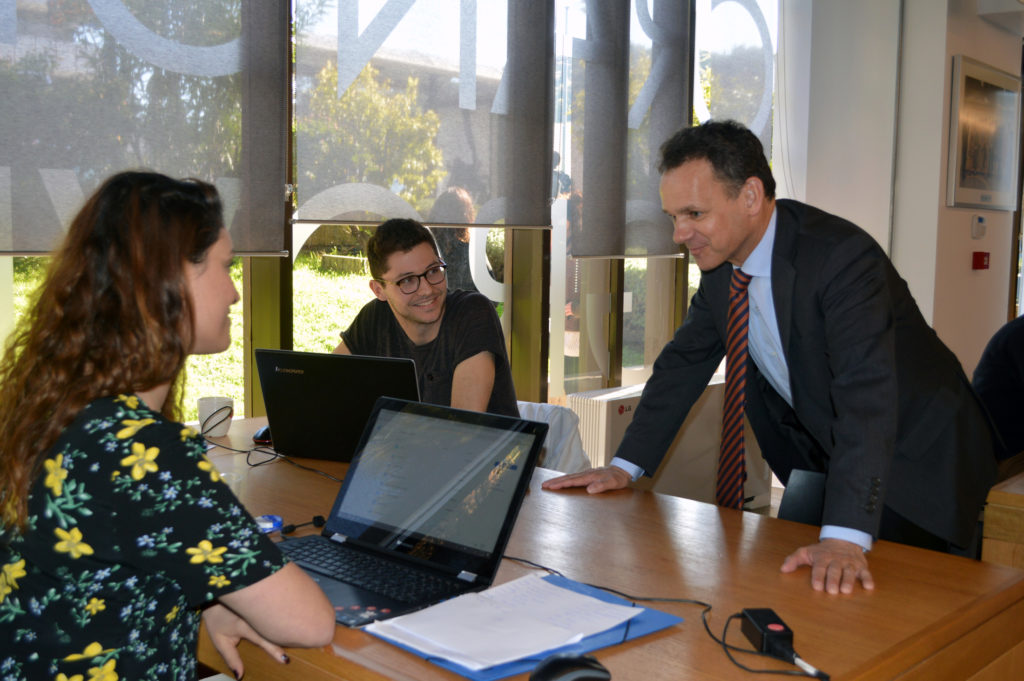 At Orange Grove, a fully-functioning start-up incubator, which supports young men and women from Greece and the Netherlands in the entrepreneurial field.